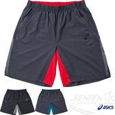 ASICS亞瑟士 慢跑短褲(灰紅) 運動平織短褲 後腰拉鍊口袋