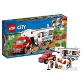 積木城市組60182親子野營房車積木玩具xw