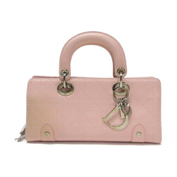 Dior 迪奧 粉紅色牛皮長型手提包 Lady Dior【二手名牌 BRAND OFF】