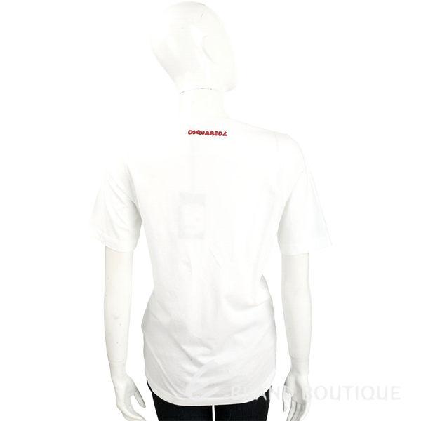 DSQUARED2 白色抽象圖騰棉質T恤 1620144-20