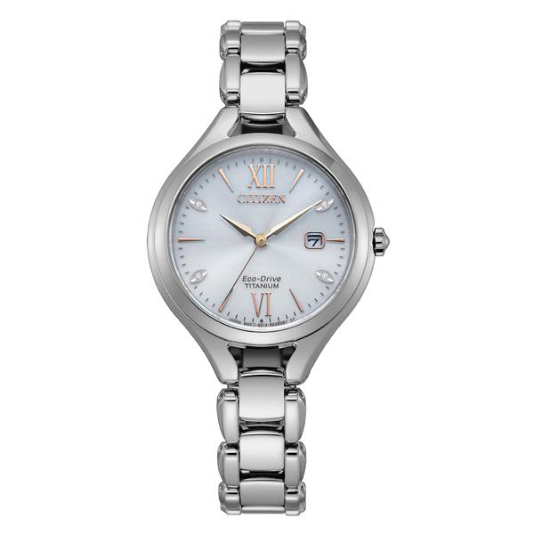 CITIZEN LADY'S光動能鈦金屬閃耀貝殼面腕錶EW2560-86A