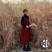 新年圣誕長款兩件套連身裙女秋冬法式復古紅色燈芯絨背帶裙【Kacey Devlin】
