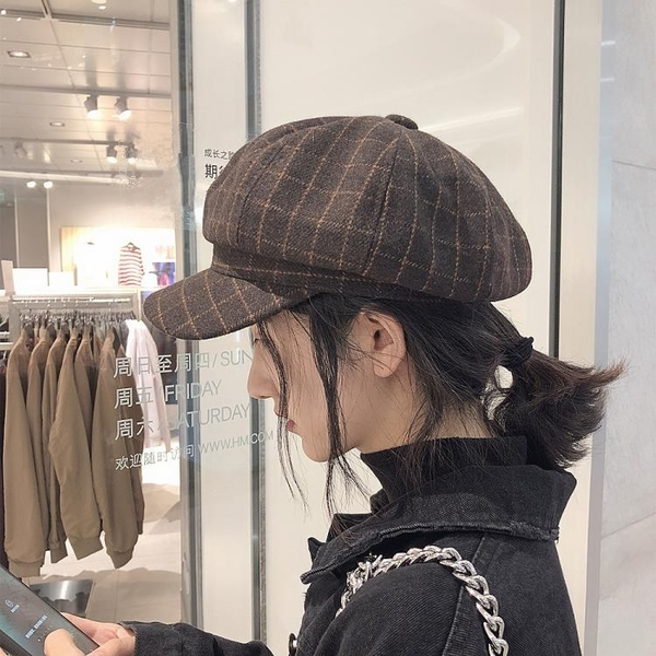 貝雷帽 帽子女秋冬英倫畫家貝雷帽男韓國鴨舌帽女韓版百搭日系格子八角帽
