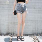 高腰破洞灰色毛邊牛仔短褲女個性學生寬鬆闊腿熱褲子女夏新款