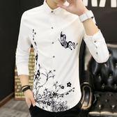 韓版修身長袖襯衣青年白學生長袖襯衫男士休閒寸衫打底薄衣服男裝  無糖工作室