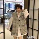 秋季2020新款韓版溫柔風馬甲女外穿坎肩背心外套 露肩襯衣兩件套