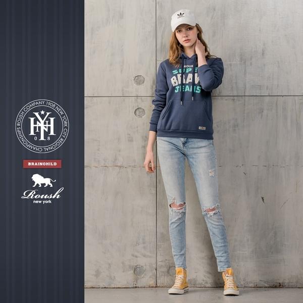 【Roush】 女生美式龜裂膠印刷毛帽TEE -【812728】