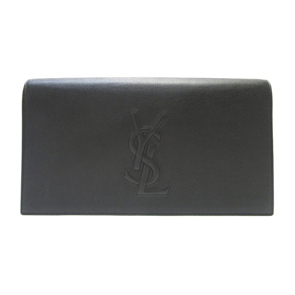 YVES SAINT LAURENT YSL 聖羅蘭黑色牛皮Y字縫線手拿包 Belle De Jour Clutch BRANDOFF