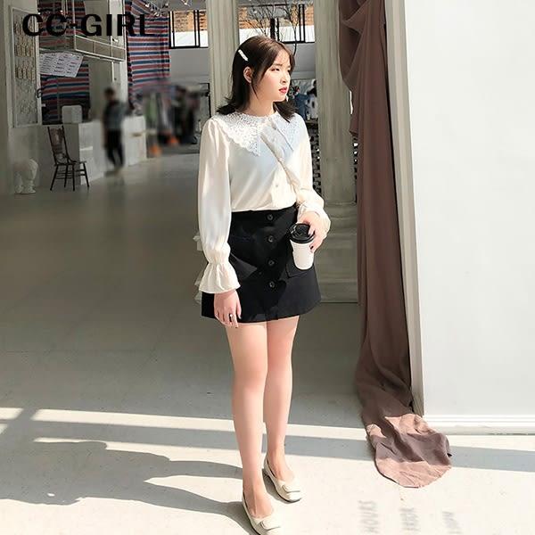 中大尺碼  黑色排釦A字短褲裙 - 適XL~5L《 68043 》CC-GIRL