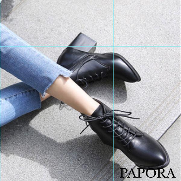 時尚流行拉錬粗跟短靴【K1188】黑PAPORA