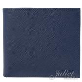 茱麗葉精品【全新現貨】PRADA 2MO738 SAFFIANO 1粒面雙折零錢中短夾.藍