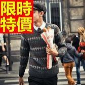 長袖毛衣-美麗諾羊毛日系防寒套頭男針織衫3色63t75[巴黎精品]