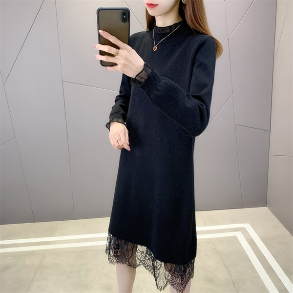 EASON SHOP(GW9970)韓版純色鉤花蕾絲拼接彈力貼身木耳花邊小高領長袖毛衣針織連身裙洋裝包臀裙窄裙