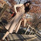 秋冬新款毛呢背帶裙女中長款正韓顯瘦高腰打底連衣裙子限時八九折