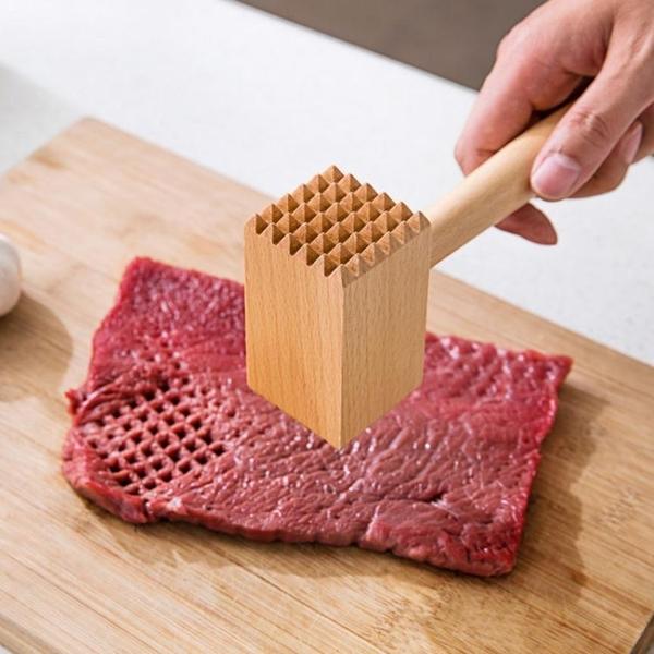 實木肉錘宜家鬆肉錘雙面敲肉錘家用櫸木牛排錘打肉錘子原木廚具 1995生活雜貨