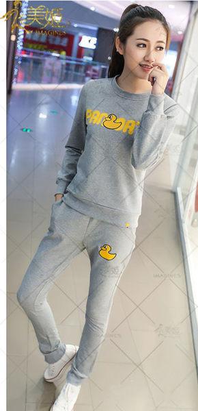 衣美姬♥可愛黃色鴨鴨運動套裝 休閒百搭外出運動服 韓版長袖 可愛套裝