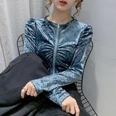 現貨寄出 拉鏈開衫泡泡袖絲絨上衣女秋季新款氣質時尚修身短款長袖襯衫