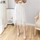 網紗裙 白色網紗半身裙百褶a字款紗裙女夏季高腰中長款短裙子長裙-Ballet朵朵
