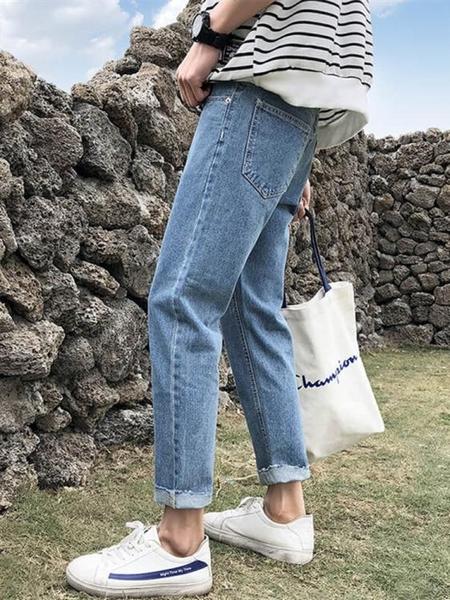 牛仔褲秋季長褲港風男生九分牛仔褲男潮牌寬鬆直筒褲子韓版潮流百搭9分新品