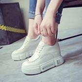 英倫風小白鞋子女春季新款平底單鞋學生鬆糕厚底板鞋內增高鞋