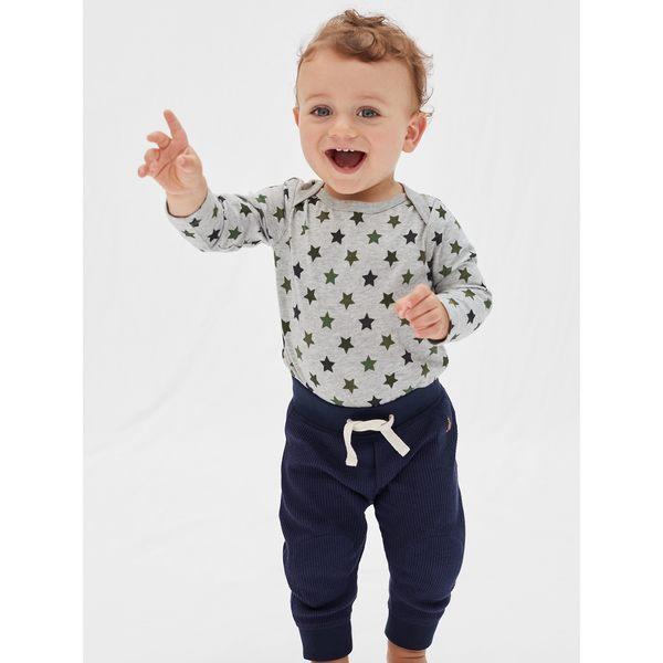 Gap男嬰兒 寶寶純棉長袖圓領包屁衣 新生兒印花連身衣 374379-淺麻灰