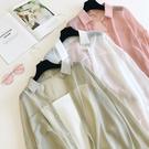 防曬衣 防曬衣女披肩夏季寬鬆百搭洋氣雪紡襯衫長袖透氣空調衫開衫薄外套-Ballet朵朵