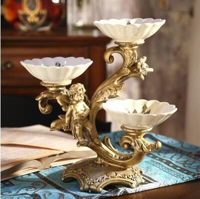 歐式陶瓷分格乾果盤子客廳創意蛋糕架天使乾果盤下午茶點心託盤