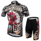 自行車衣-(短袖套裝)-曲棍骷髏時尚酷炫男單車服套裝73er44【時尚巴黎】