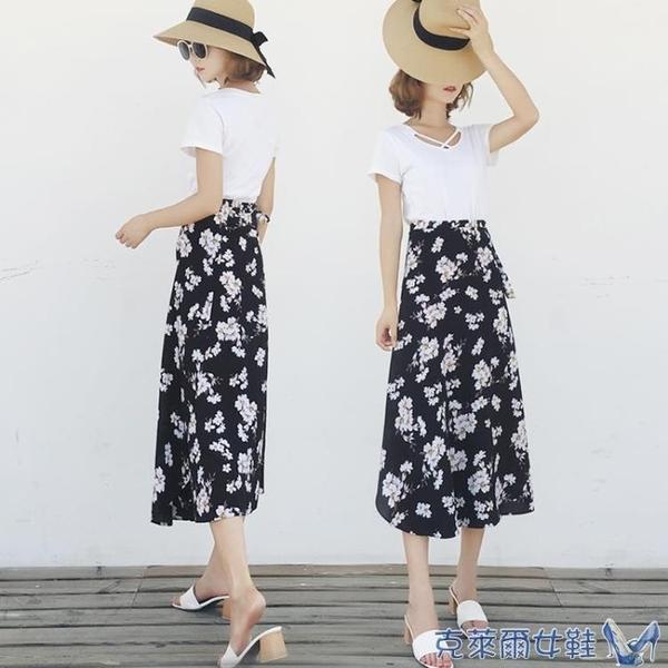 泰國度假半身裙女2019春夏新款海邊沙灘裙一片式裹裙雪紡碎花長裙 快速出貨