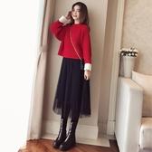 慵懶風寬鬆毛衣配網紗裙兩件式洋裝時尚氣質女神范甜美連身裙秋冬 KV2555 『寶貝兒童裝』