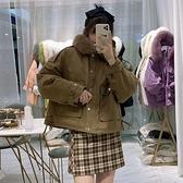 羽絨外套-白鴨絨-狐狸毛領寬鬆短版保暖女夾克3色73zb13[時尚巴黎]