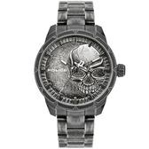 【台南 時代鐘錶 POLICE】義式潮流 骷髏圖騰強烈風格腕錶 15715JSQU-78M 黑 46mm