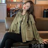 工裝外套 工裝外套女小個子短款風衣春秋季韓版寬鬆流行薄款大衣 唯伊時尚 快速出貨