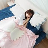 翅膀午睡枕頭汽車內折疊抱枕被子兩用一對靠墊辦公室空調靠枕毯子