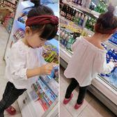 *╮小衣衫S13╭*女童白色透氣棉紗一字領娃娃衫上衣1070326