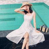 ✎﹏₯㎕ 米蘭shoe  吊帶連衣裙夏季新款氣質性感一字領露背裝高腰修身大擺長裙