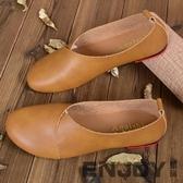 MOYI沫憶原創手工軟皮女鞋復古皮鞋女單鞋平底鞋文藝休閒豆豆鞋