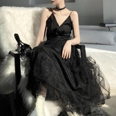 chic黑色港味長裙仙女夏港風吊帶裙子度假禮服赫本網紗流 伊蒂斯女裝