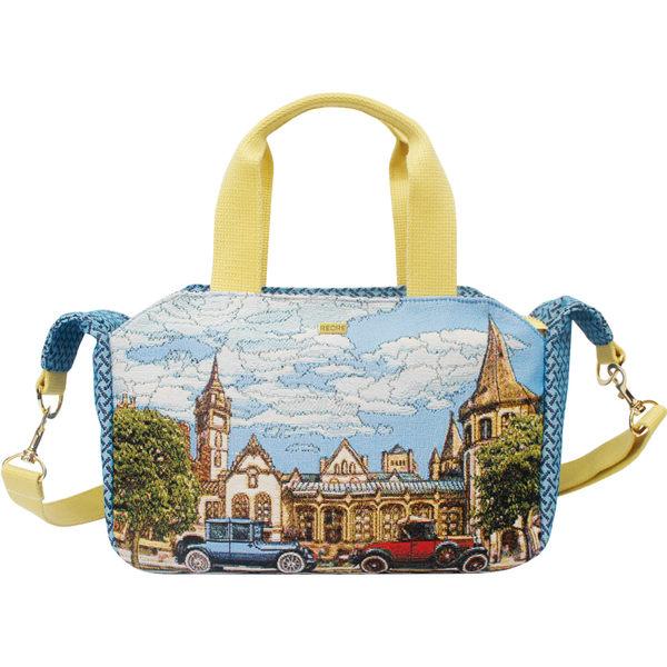 手提包-復古汽車織畫緹花手提兩用包 藍-REORE