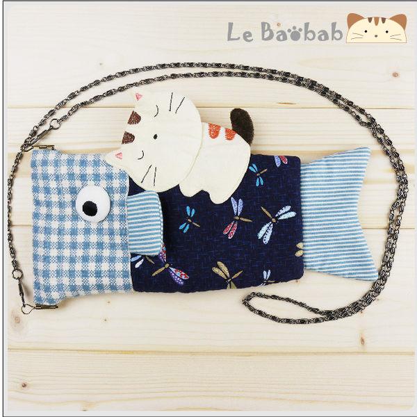 手機袋~雅瑪小舖日系貓咪包 啵啵貓和風魚造型彈片口金手機袋/拼布包包