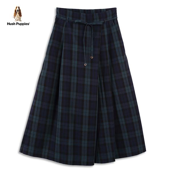 Hush Puppies 褲裙 女裝簡約格紋綁帶寬版褲裙