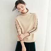 羊毛針織衫-高領撞色捲邊套頭保暖女毛衣3色73uj8【巴黎精品】