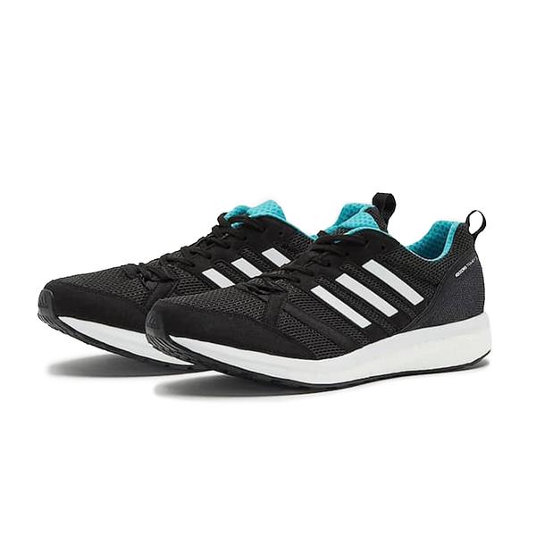 ADIDAS 慢跑鞋 ADIZERO TWMPO 9 BOOST 黑 白 藍 男 (布魯克林) BB6649