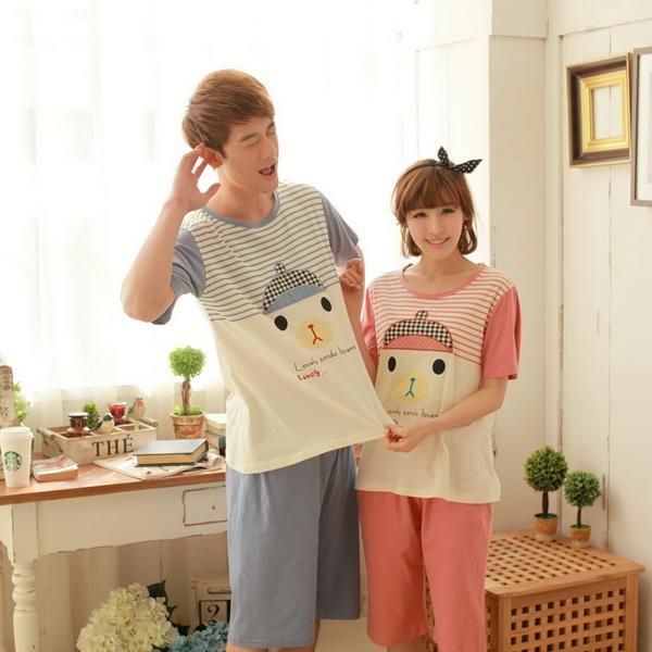 幸福小熊 棉質長袖二件式情侶睡衣  居家服