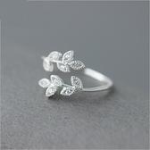 戒指 925純銀 鑲鑽-閃耀樹葉生日情人節禮物女開口戒73dt41【時尚巴黎】