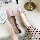 單鞋女瓢鞋2019夏季新款仙女鞋溫柔平底復古方頭淺口鞋子 JY8337【pink中大尺碼】