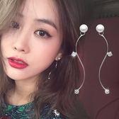 現貨-閃鑽水晶珍珠S曲線耳環長款氣質耳釘極簡設計歐美-C10