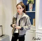 韓版時尚PU皮毛絨短夾克外套 1659A 彼得麗絲