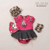 【金安德森】春夏彌月禮盒-格子蝴蝶結女熊配色兔裝-粉色