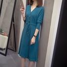 微購【A4630】V領針織抽繩連身裙 洋裝 XL-4XL
